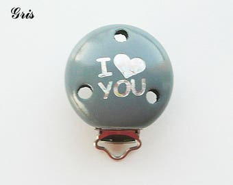 Clamp / Clip in wood, pacifier, buckle, gray: I LOVE YOU