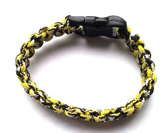 """Bracelet """"mini Paracord"""" black white and yellow with tie"""