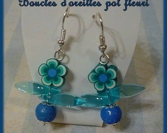Blue flower pot earrings