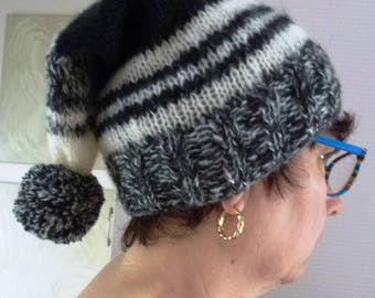 handmade black and white with big pompon knit Pixie Hat