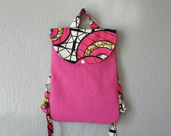 small backpack kids Fuchsia linen and wax to customize fabric