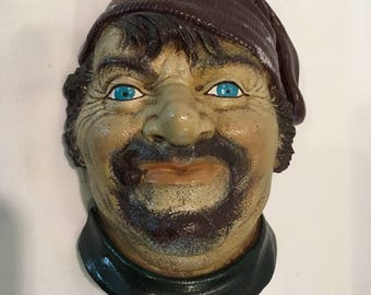 Vintage Chalkware Fisherman Head w/ Cigarette Plaque Bust Wall Decor Unmarked