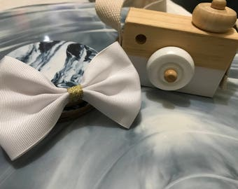White and Gold Ribbon Bow