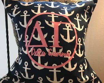 Delta Gamma Pillow Anchors Navy Pink White Personalized w/ Sorority, Name, Team, Initials, Monogram, Etc. FREE