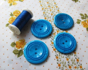 4 large buttons decorative Turquoise 36mm