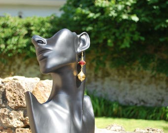"""Earrings """"Bicone beads and Golden charm""""."""