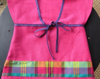 kimono tunic Pink Purple bias and madras