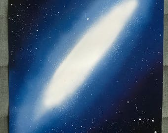 Spray Paint Art - Blue Oval Galaxy