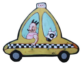 New York Taxi painted wooden key holder