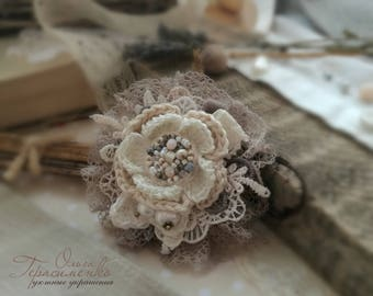 Knitted brooch in the style of a boho, lace brooch, textile jewelry, flower brooch, Free shipping, Gift Ideas for women