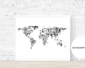 World Map Print, Minimalist Print, Black and White, Home Decor, Digital Print, Instant Download, Gift