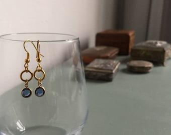 Drop earrings with blue cut glass
