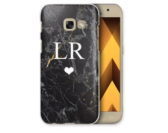 Personalised Black Marble initials Heart Phone Case Samsung Galaxy S4 S5 S6 Edge S7 Edge S8 Plus