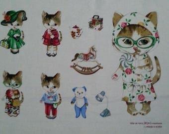 1 piece of cat fabrics linen and cotton