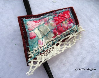 "Romantic headband ""roses and lace"" - pink and Lace - textile patchwork"