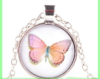 glass Butterfly pendant charm N22