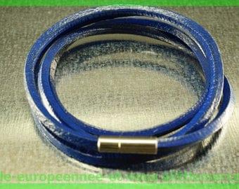 quadruple bracelet leather cowhide N3 79 cm charms