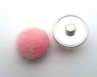 Snap fur pompom pink
