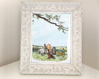 Winnie the Pooh & Friends. Vintage Book illustration for Framing. Gift for girl or boy themed bedroom or nursery. 1976 E H Shepard Print