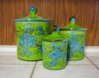 Vintage Handpainted Canister | Blue & Green | Set 44/60
