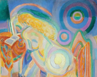 PLACEMAT semi-rigid ORIGINAL AESTHETIC WASHABLE and durable Robert Delaunay - nude woman reading - classic.