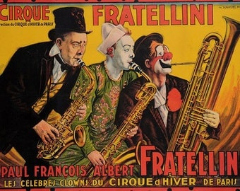 VINTAGE TABLE SET, ORIGINAL design, WASHABLE and durable - vintage poster / circus Fratellini.