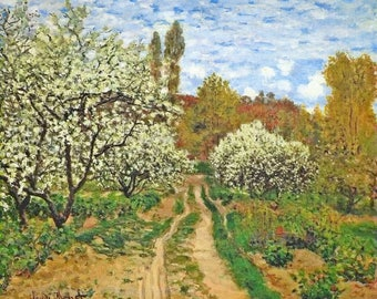 SET of TABLE semi-rigid ORIGINAL AESTHETIC WASHABLE and durable - Impressionist painters - Claude Monet - Apple blossoms.