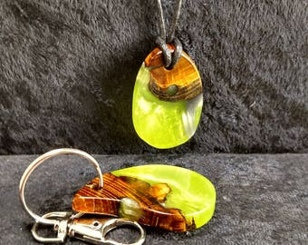 Matching wood and resin necklace and key chain