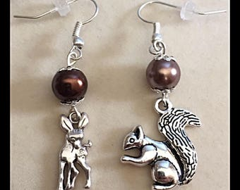 "Earrings of the forest ""deer and squirrel"""