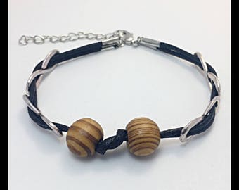 Men's waxed cotton and wooden Beads Bracelet