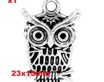 1 pendants charm OWL accessory 23x15mm