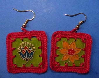 Bohemian earrings made of shrink plastic and hook