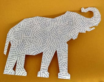 Elephant - Paper collage geometric illustration Board