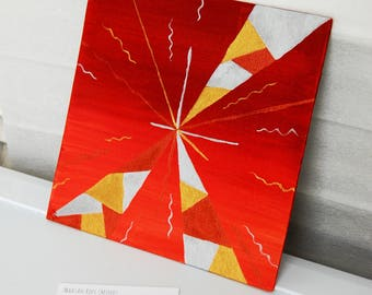 Abstract Red Silver Gold and Bronze Vortex Metallic Acrylic Painting 20x20cm Stretched Canvas on Hard Board