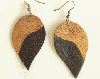 soft leather, black and copper earrings