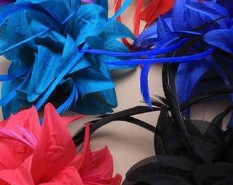 Fabric flower fascinator with on a forked clip In an assortment of Pink