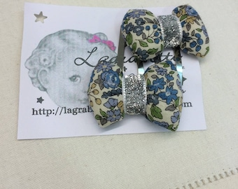 set of 2 hair clip with bow floral Blue/White ruffles