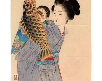 Koinobori (Takeuchi Keishu) N.1 kuchi-e woodblock print