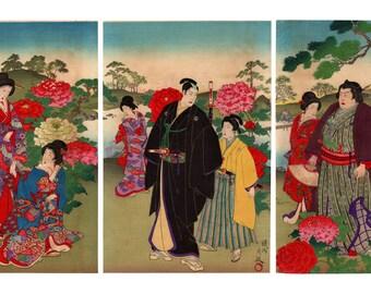 Peonies garden (Toyohara Chikanobu) N.1 triptych of ukiyo-e woodblock prints