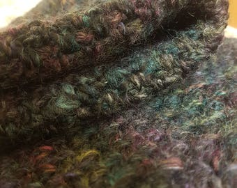 Midnight forest green multicolored hand-crocheted snood