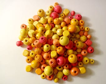 Wholesale lot of 150 wooden beads yellow and orange