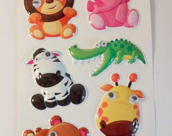 Stickers 3D animals - 6 stickers - lion, elephant, Zebra, crocodile, giraffe, bear - children