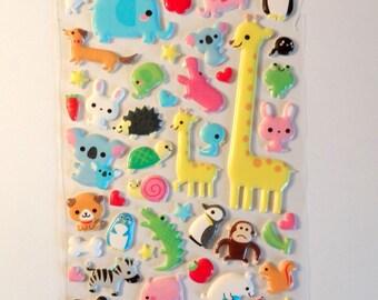 Stickers 3D animals - 60 stickers - lion, elephant, Zebra, crocodile, giraffe, bear - children