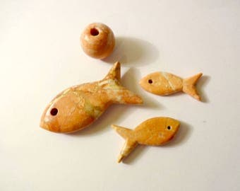 Set of 4 fish stone mineral jewelry beads