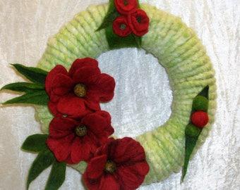 Door wreath poppies felting wall Türdeko unique gift of green Poppys