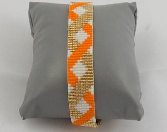 """Orange zig zag"" bracelet"