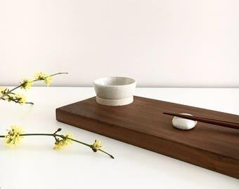 Sushi set - American walnut board/saucer/hashioki