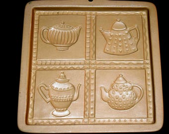 Brown Bag Cookie Art Mold TEAPOT CUT-APART w/ Recipes 1996 Hill Design