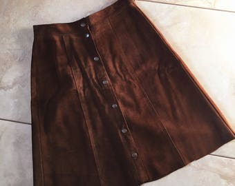 Vintage 1970's Real Suede Brown Button Down Skirt : Size Small