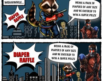 Super Hero Diaper Raffle Ticket Template
